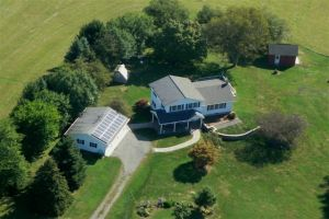 Ariel View of Thompson House with PV panels and solar hot water.